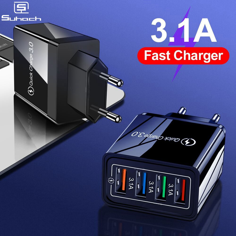 Quick Charge 4.0 3.0 USB Charger Universal 4 Port Fast Charging EU US Plug Power Adapter For Samsung S10 IPhone 11 Tablet Charge