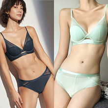 Women Bra Set Mesh Lingerie Lightweight Gather Full Cup Ladies Underwear Bra Sexy Low Waist Panty Bra Push Up Set