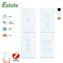 1234 Gang 2/3Way WiFi Touch Switch AC 100v220v Wall Light Switch Smart Home Zigbee Wireless Remote Control Tuya App US Standard