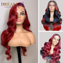 Ombre Red Blonde Body Wave Wig 13X4 Deep Part Lace Front Human Hair Wig 150%Density Brazilian Remy Closure Wig Plucked Burgundy