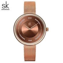 Shengke Women Watches Top Brand Luxury Stainless Steel Strap Wristwatch for Women Rose Clock Stylish Quartz Ladies Watch