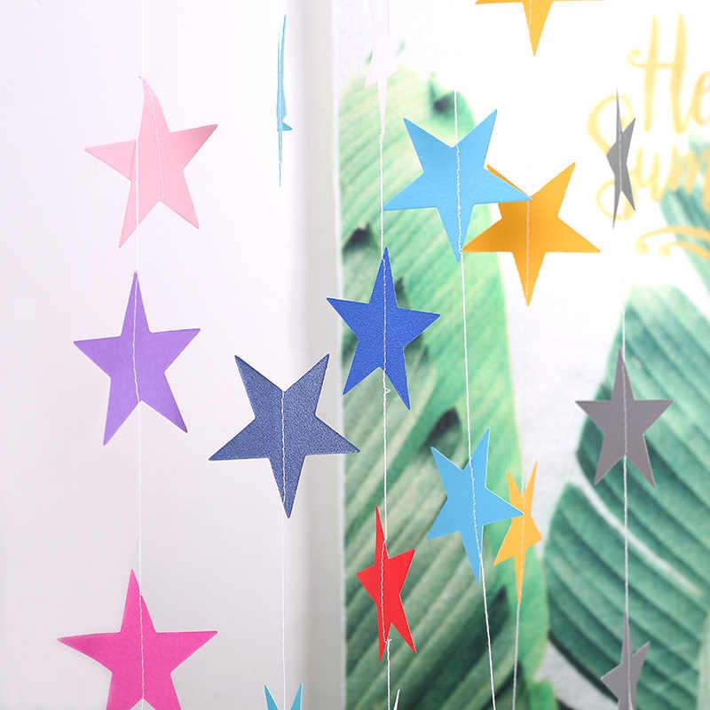 4M رخيصة إكليل من الورق نجمة سلسلة راية سعيد عيد ميلاد الزفاف راية حزب المنزل ديكور للتعليق على الحائط حمام الطفل المنتجات