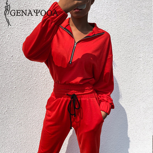 Image 3 - Genayooa Brand Tracksuit Women Fitness Two Piece Set Top And Pant Long Sleeve Crop Top Sweat Suits Women 2 Piece Set Female 2019