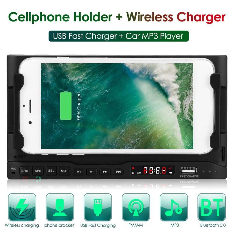 Chargeur sans fil multifonction de voiture lecteur MP3 15W chargeur rapide pour iPhone Samsung Bluetooth lecteur de musique sans perte support pour téléphone