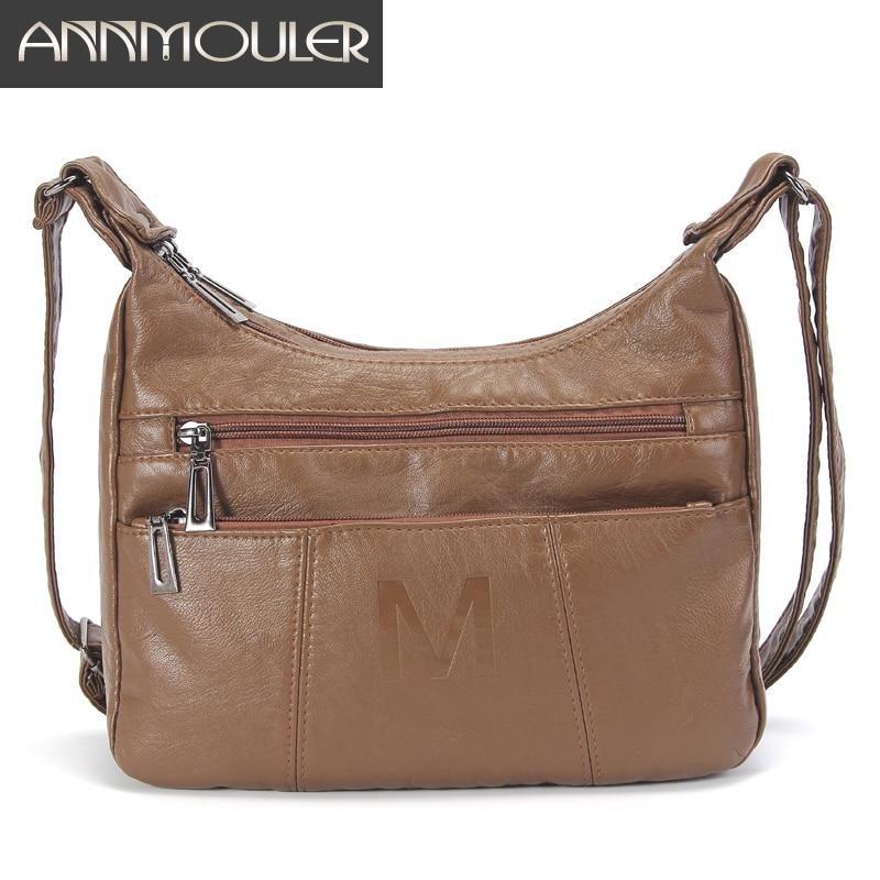 Women Shoulder Bag Pu Leather Crossbody Bag Fashion Ladies Handbag Purse Soft Messenger Bag Washed Leather Women Small Bags