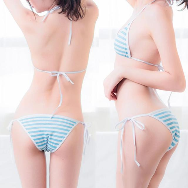 Women Sexy Bikini Triangle Color Stripe Lace Up Bra Panties Briefs Underwear Set 1