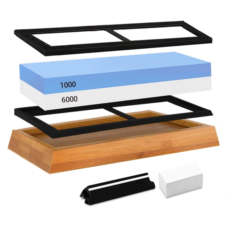 <font><b>Whetstone</b></font> 1000 6000-Knife Sharpening Stone - Best Knife Sharpening Kit with Angle Guide,Flattening Stone Leather Strop image