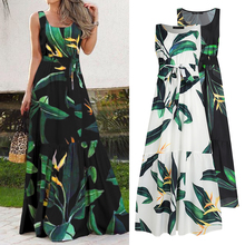Celmia Bohemian Dress Women Summer Sundress Sleeveless Vintage Floral Print Casual Loose Ruffles Party Robe Belted Vestidos 5XL