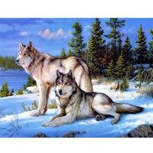 """Pdmdog 5d diy Алмазная мозаика """"Волки"""" картина животное"""