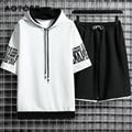 Спортивный костюм мужской из 2 предметов, повседневная Уличная одежда, свитшот с капюшоном, футболка с коротким рукавом и шорты, комплект ле...