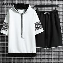 Masculino casual conjuntos de moda ao ar livre sportwear homem roupas com capuz moletom manga curta camiseta shorts treino verão 2 pcs conjunto