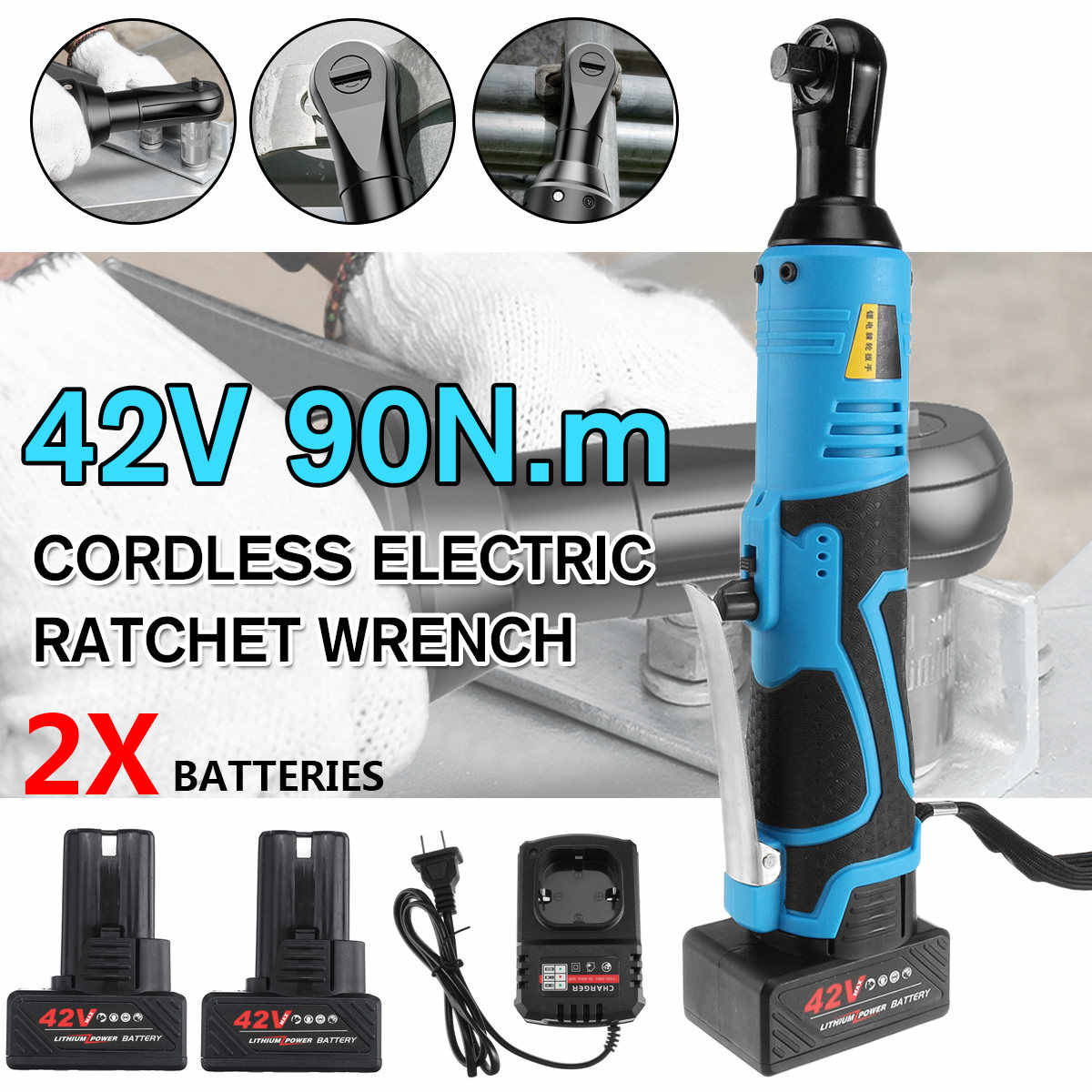 Battery 12V 70Nm 3//8/'/' Cordless Electric Ratchet Wrench Kit Right Angle Tool