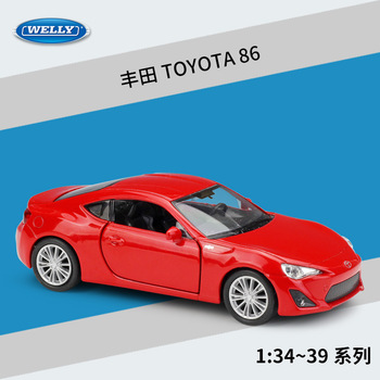 Welly 1:36 TOYOTA 86 alloy car model pull-back vehicle Collect gifts Non-remote control type transport toy image