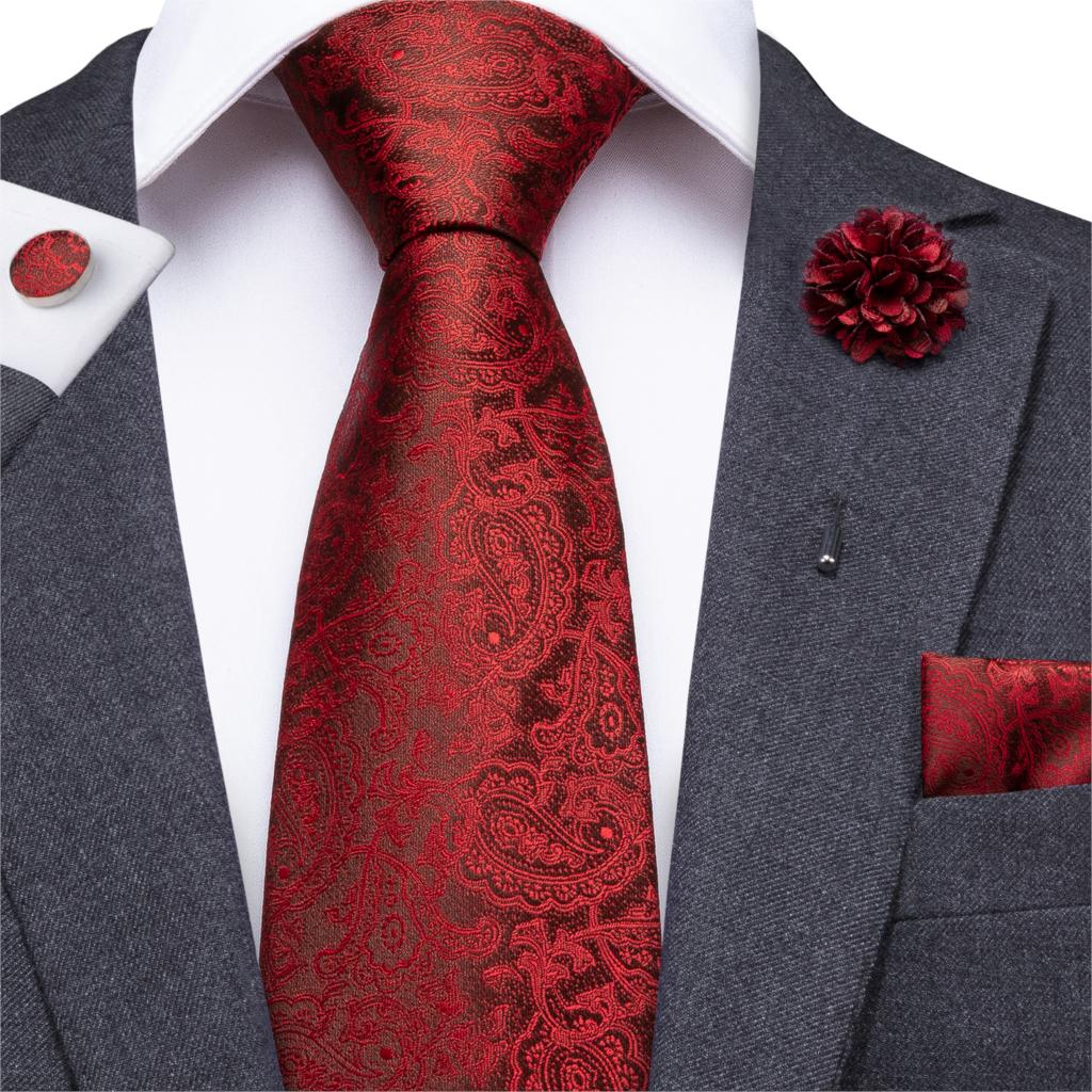 Wedding Tie For Men Red Silk Ties Floral Necktie Paisley Cravat Boutonniere Pocket Square Cufflink Gift To Father Husband Hi-Tie