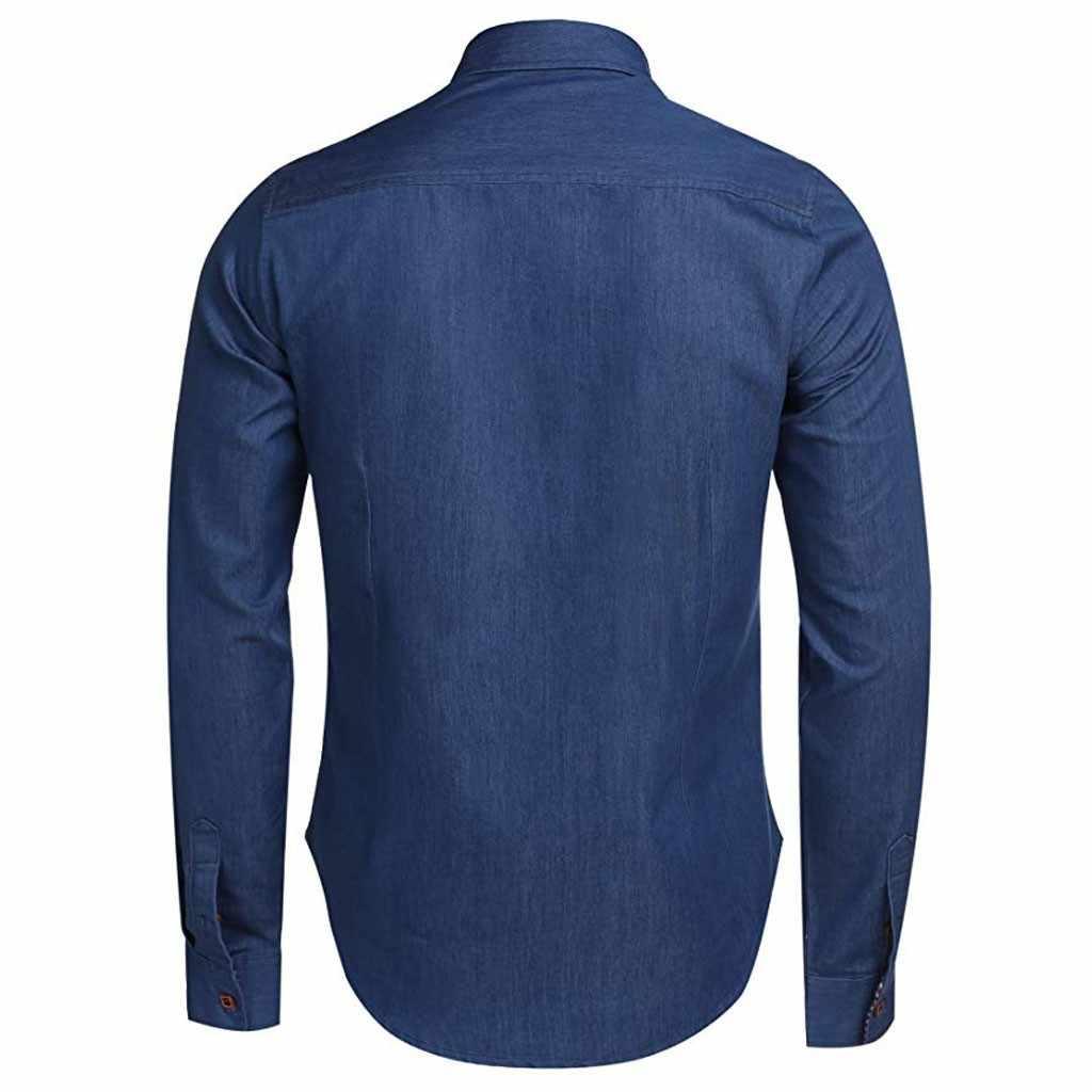 قميص دينيم رجالي 2020 قميص رجالي ضيق لفصل الربيع والخريف قميص رجالي بأكمام طويلة كارديجان قمصان غير رسمية ملابس علوية للرجال