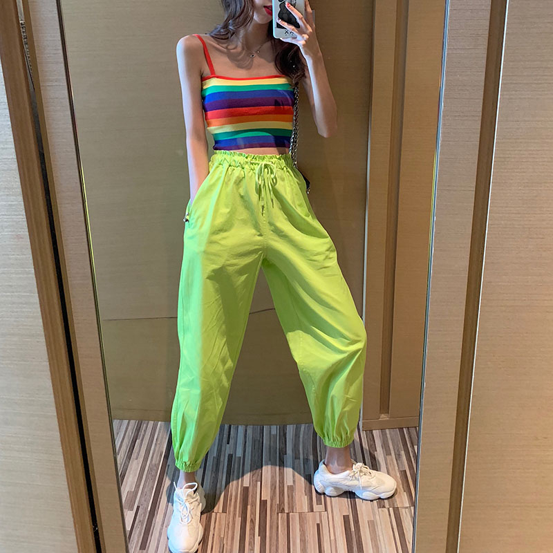 2020 New Streetwear Cargo Pants Women Joggers Neon Green High Waist Loose Female Trousers Ladies Pants Hip Hop Pants Women KZ31