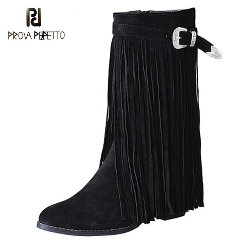 Genuíno couro de camurça feminina borla botas curtas maior calcanhar fivela de cinto moda bootie para o sexo feminino