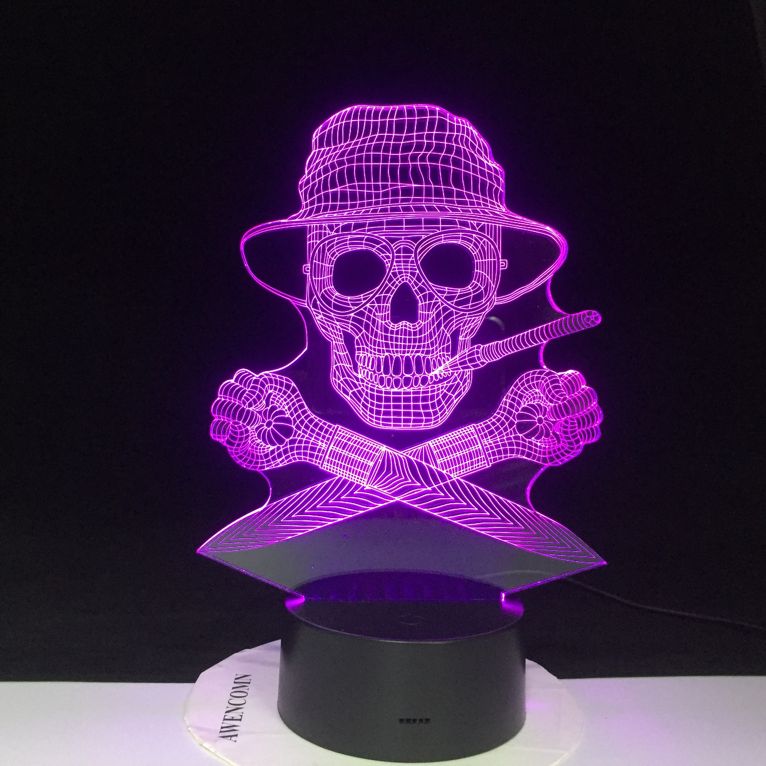 3D Pirate Ship Night Light 7 Color Change LED Desk Lamp Touch Room Decor Gift