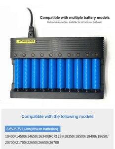 Image 4 - PUJIMAX10 slots 배터리 충전기 18650 EU 스마트 충전 26650 21700 14500 26500 22650 26700 리튬 이온 충전지 충전기