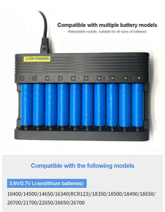 Image 4 - PUJIMAX10 slots carregador de bateria 18650 ue inteligente de carregamento 26650 21700 14500 26500 22650 26700 li ion recarregável carregador de bateria