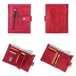 Image 2 - Contacts Small billetera de piel auténtica para mujer, monedero femenino, bolsillo con cremallera, tarjetero corto, bolso de mano tipo monedero Rfid
