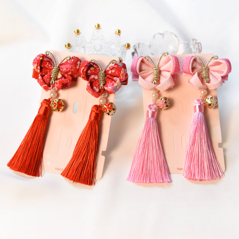 Baby Girls Chinese Style Butterfly Tassels Hair Clips Barrettes For Kids Festival Multi-Color