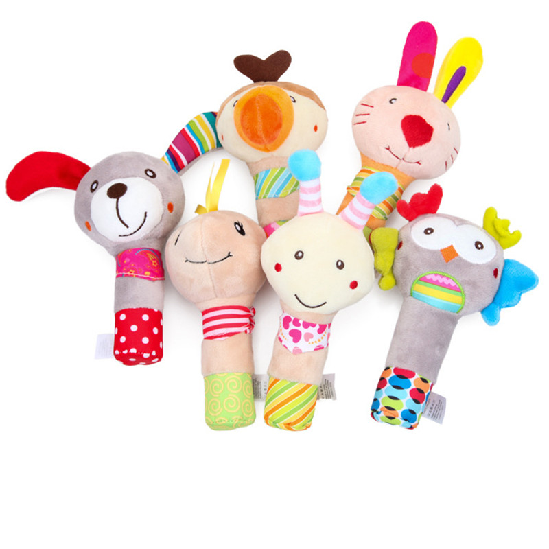 Baby Rattle Cartoon Toys Handbell Baby Plush Developing Toys For Newborns Baby Toddler Toys Cartoon Animals BB Squeaker Rattles