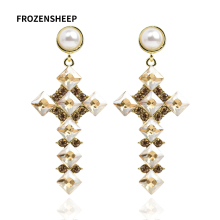 FROZENSHEEP vintage Rhinestone Cross Earrings for women Luxury Crystal Long dangle earrings retro statement geometric jewelry vintage faux crystal geometric bracelet for women