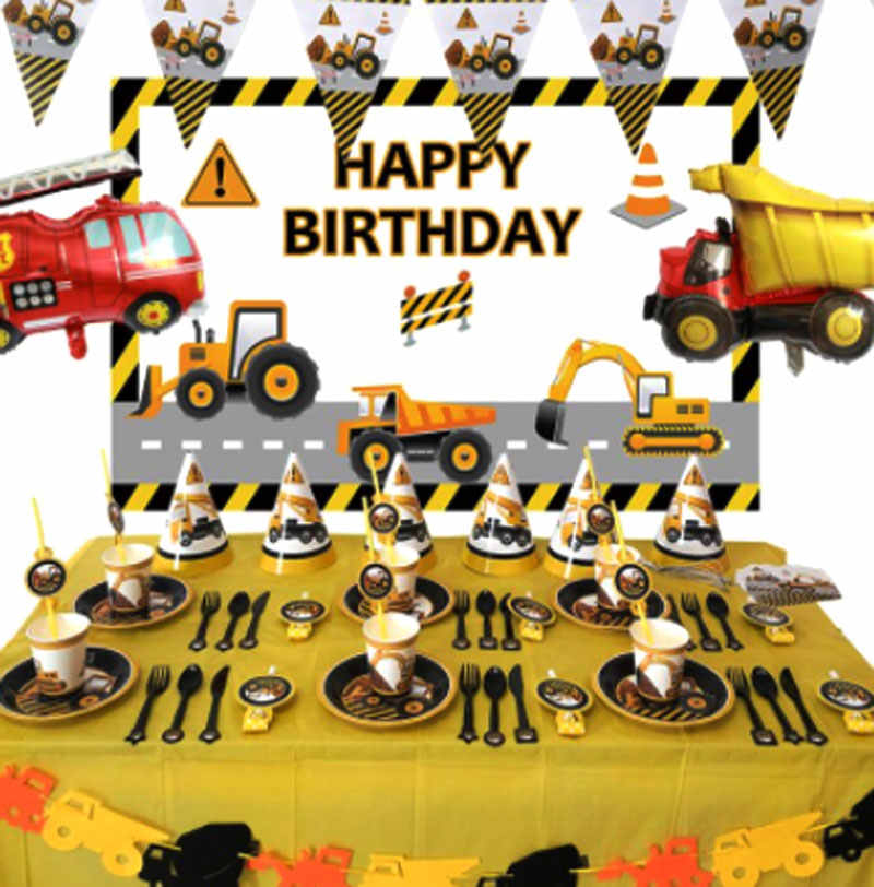 New Construction Vehicle Excavator Party Decoration Paper Cup Plate Banner Baby Bath Balloon Child Birthday Party Supplies