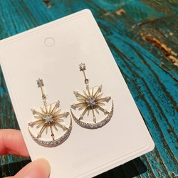 MENGJIQIAO New Korean Shiny Star Moon Drop Earrings For Women Delicate Zircon Half Round Fashion Pendientes Party Jewelry Gifts