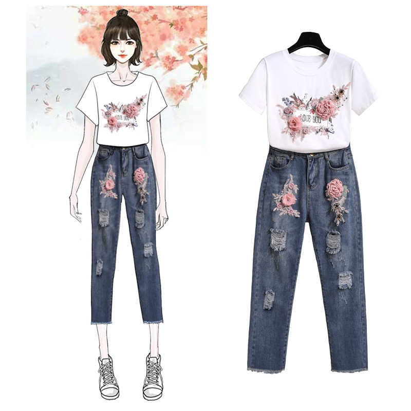 Banulin Frauen Schwere Arbeit Stickerei 3D Blume Brief Drucken T-shirts + Jeans 2 stücke Kleidung Sets Sommer Beiläufigen Satz Anzüge