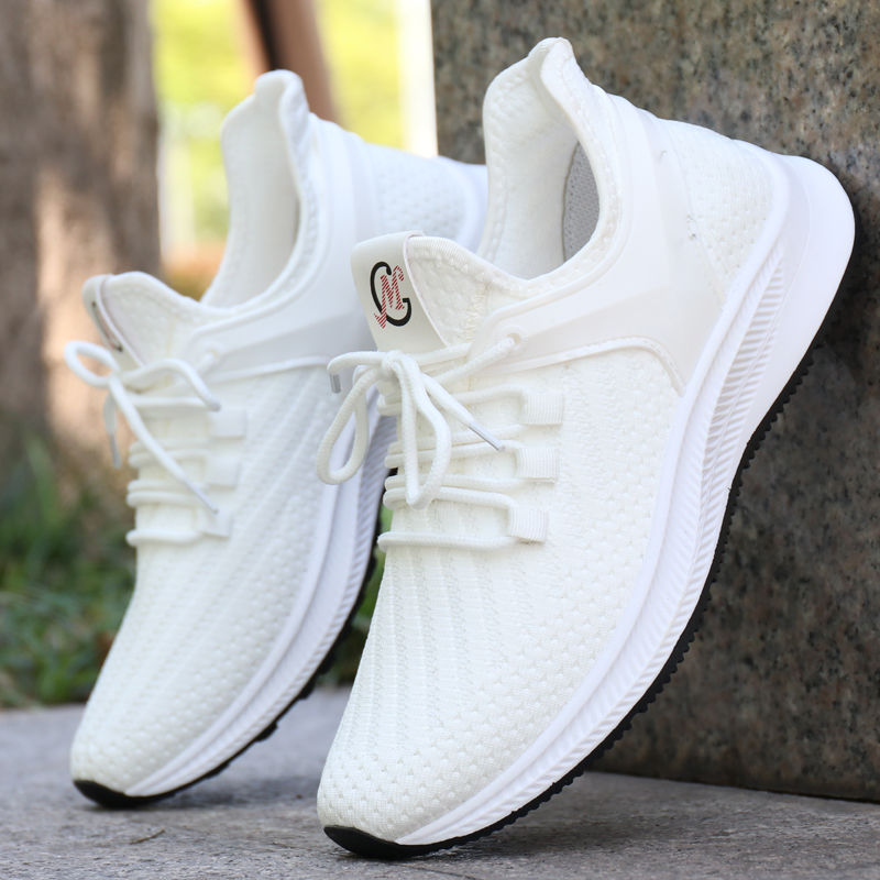 Men's Breathable Mesh Shoes Summer Deodorant Casual Shoes For Men's White Sneakers Trend Man Flat Walking Shoes