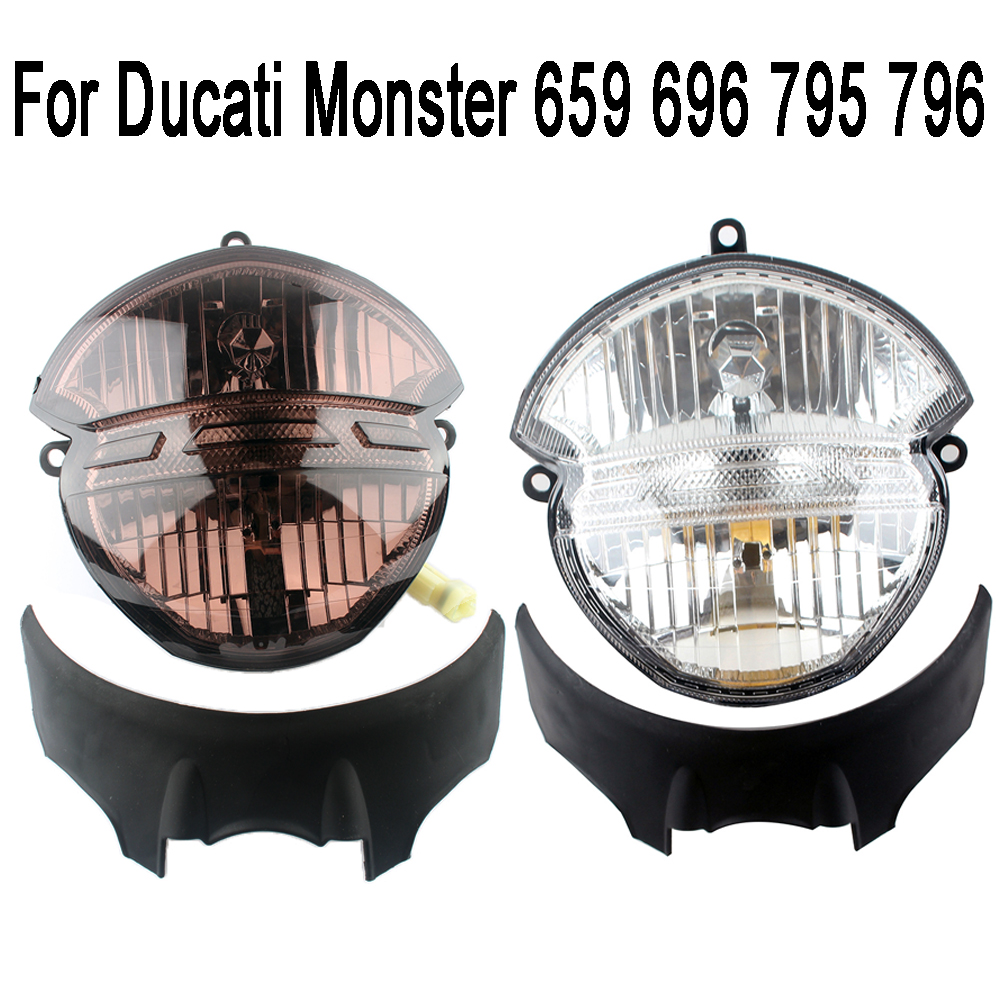 New Motorcycle Front Headlight Head Lamp Assembly For Ducati Monster 659 696 795 796 M1000 White Smoke