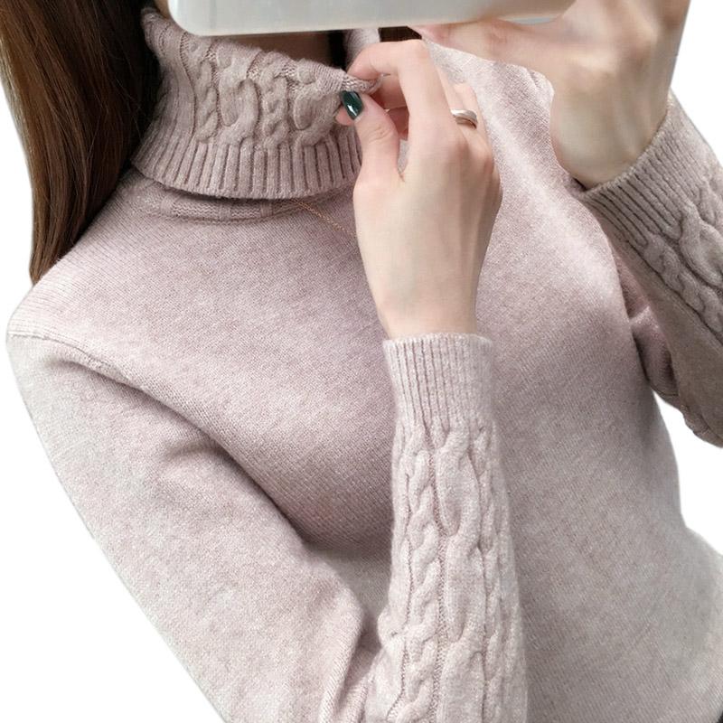 Women Sweater Turtleneck Pullovers Autumn Winter Sweaters New 2021 long sleeve Thick Warm Female Sweater Khaki