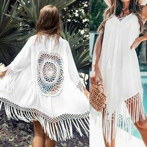 Imcute 2020 letnie kobiety Bikini z frędzlami obejmuje stroje kąpielowe stroje kąpielowe Cover-Up sukienka damska Sarong tunika sukienki