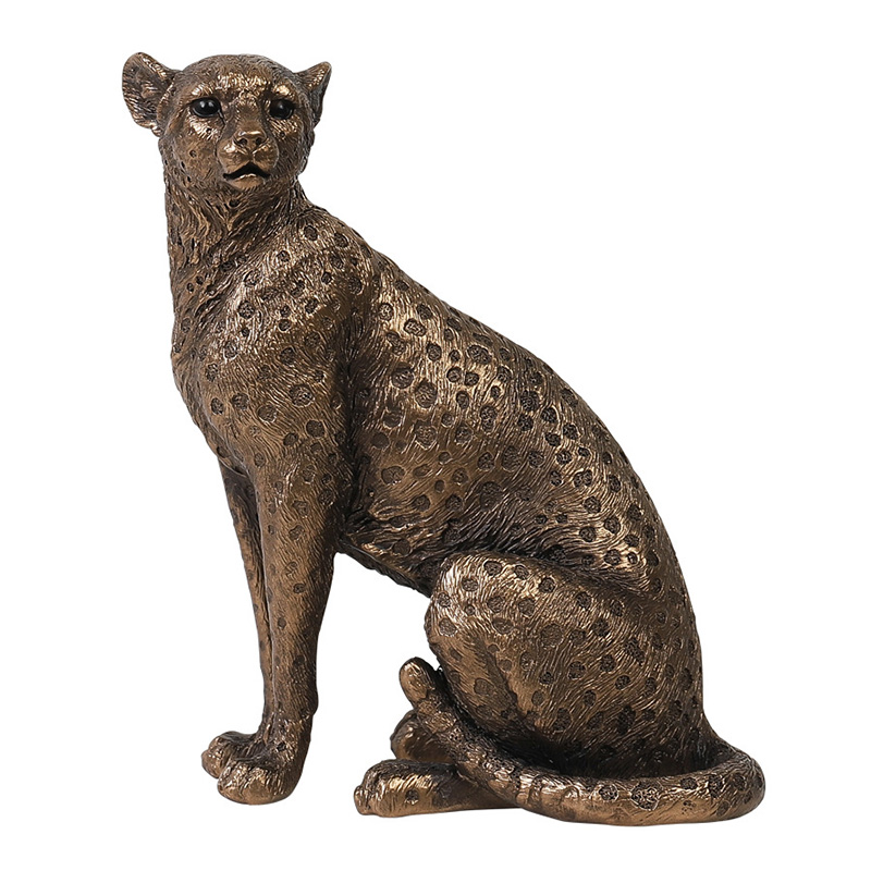 European Cheetah Statue Creative Resin Animal Sculpture Ornament Room Desktop Decoration Home Decoration Accessories