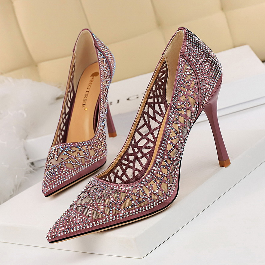 BIGTREE Summer Sexy Women Pumps Shoes Mesh Hollow Rhinestone Pointed Toe Thin High Heels Ladies Pumps Shoes For Party Casual