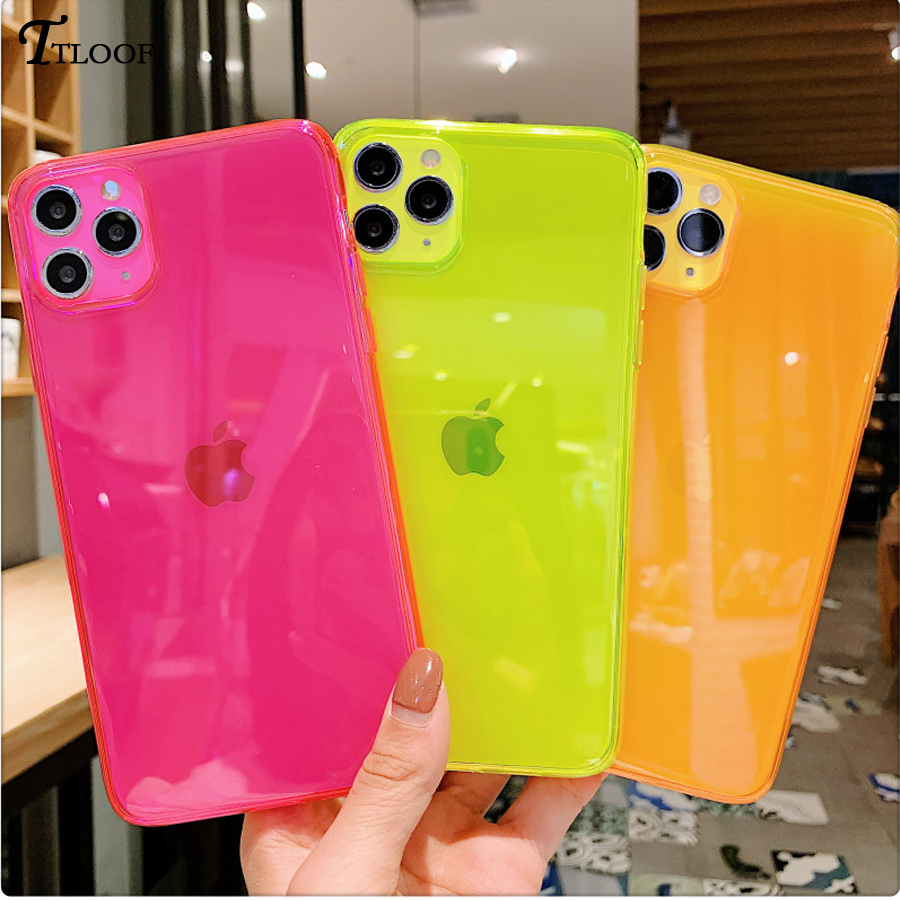 Neon Fluorescent Color Phone Case For iphone11 case For iphone 11 Pro Max X XR XS Max 6 6S 7 8 Plus Fully protected soft cover