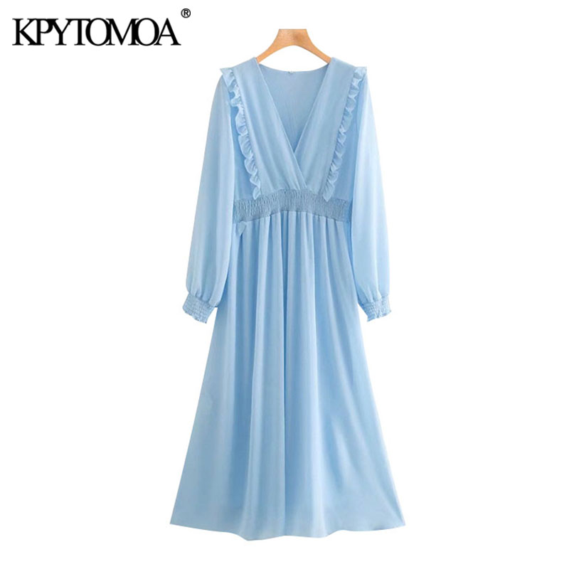 KPYTOMOA Women 2020 Elegant Fashion Ruffled Pleated Midi Dress Vintage V Neck Long Sleeve Elastic Waist Female Dresses Mujer
