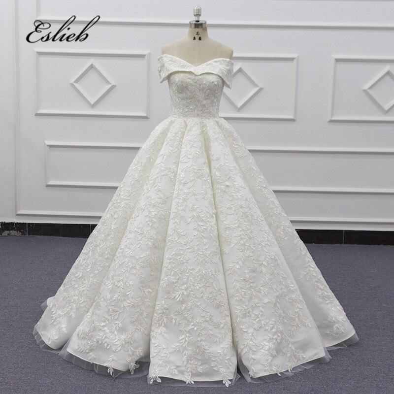 Eslieb High Quality Ball Gown Sweetehart Cap Sleeves Wedding Dresses Lace Wedding Dress 2020 Vestido De Noiva
