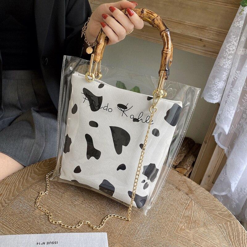 PVC Transparent Women's Bag 2021 New Korean Fashion Personalized Creative Printing Slub Handle Chain Handle Bag