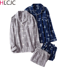 Male Pajamas Night-Suit Sleepwear Cotton Autumn Crepe Spring Gauze Mujer Men 2piece