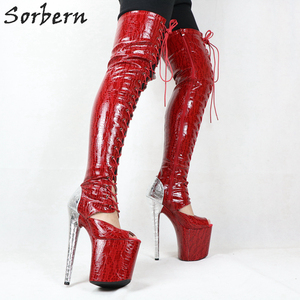 Image 5 - Sorbern cobra vermelha peep toe tornozelo botas mulher 20 cm sapato de salto alto rendas acima botas plataforma exótica sapatos stripper ins venda quente