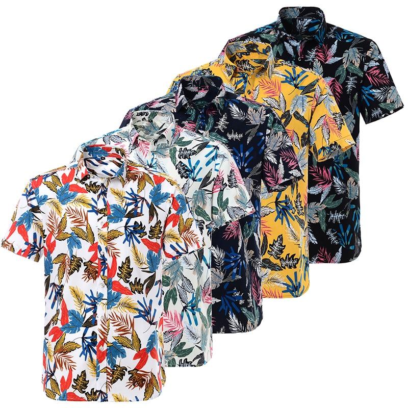 Summer Casual Mens Hawaiian Dress Shirt Loose Printed Short Sleeve Big Us Size Pure Cotton Hawaii Flower Men Beach Floral Shirts