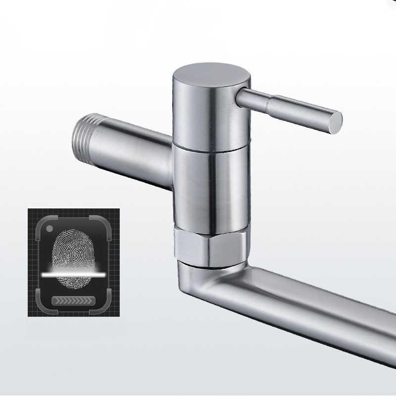 Torneira da cozinha de aço inoxidável 360 graus rotação pia alongada giratória fixado na parede única água fria torneira mop piscina