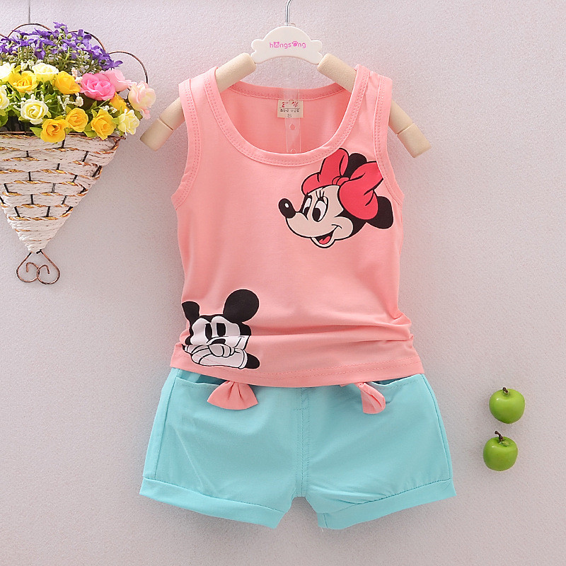 Kids Baby Boys T-shirt Tops+Pants Clothes Outfits Set Baby Girls Minnie T-shirt Tops Shorts Cartoon Clothes Set