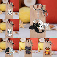 Anime How To Train Yours Dragon Keychain Cartoon Acrylic Night Fury Toothless Dragon 3 Key Ring Children Toy Gifts