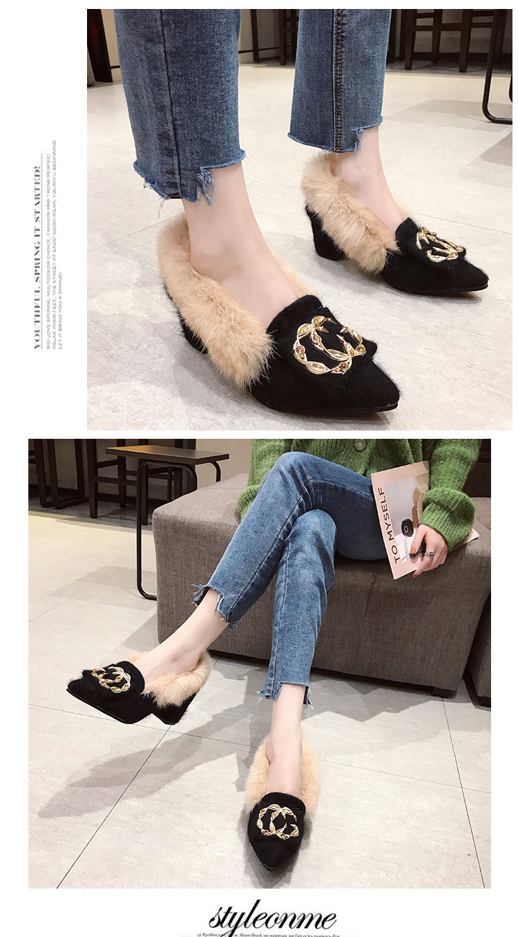 Trendy British Style shoes women women pumps Winter Fur Slides flock pointed toe metal decoration square heels Sleeve Tassel 25