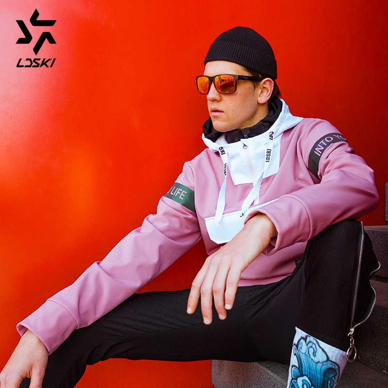 LDSKI kayak ceket su geçirmez yüzey güneşli serisi sıcak kentsel sokak şık kıyafet ön cep kazak hoodies snowboard