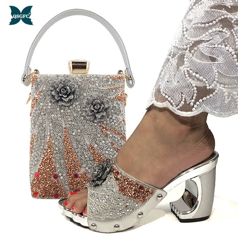 2021 New Arrival Fashionable Italian Shoes and Bag Sets Silver Color Women's Shoes with Appliques for African lady Sandals